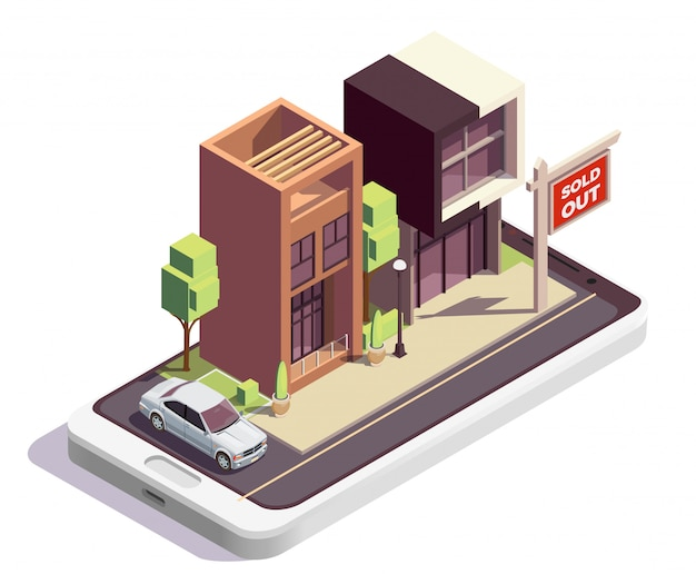 Townhouse buildings isometric composition with outdoor view of two modern dwelling houses with sold out sign