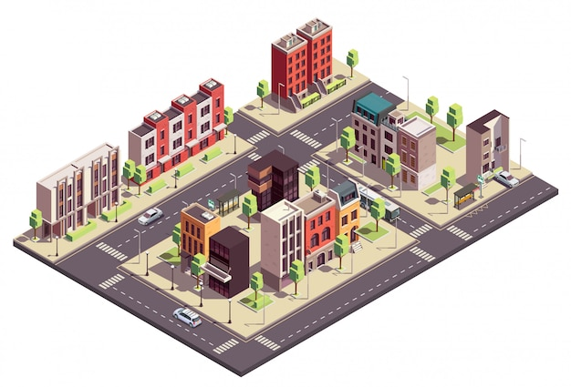 Townhouse buildings isometric composition with urban landscape and streets with city blocks living houses and cars
