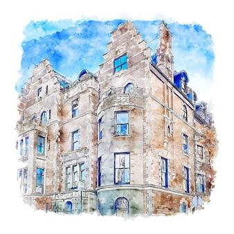 Таунхаус residence нью-йорк акварельный эскиз рисованной иллюстрации