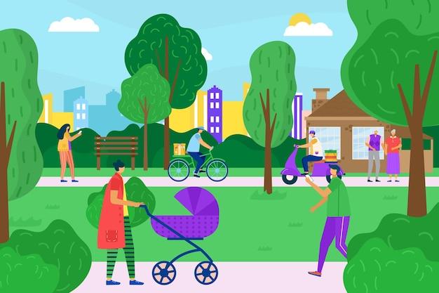 町民のキャラクターが一緒に街の庭を歩き、さまざまな人々が屋外の都市公園のフラットベクトルイラスト、街並みの景色を散歩します。