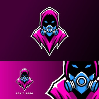 Toxic mask sport esport logo template design