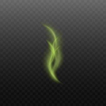 Токсичный или волшебный зеленый гладкий пар или дым, струящийся вверх