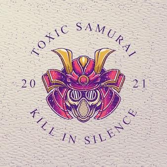 Токсичный самурай с противогазом в ретро-дизайне