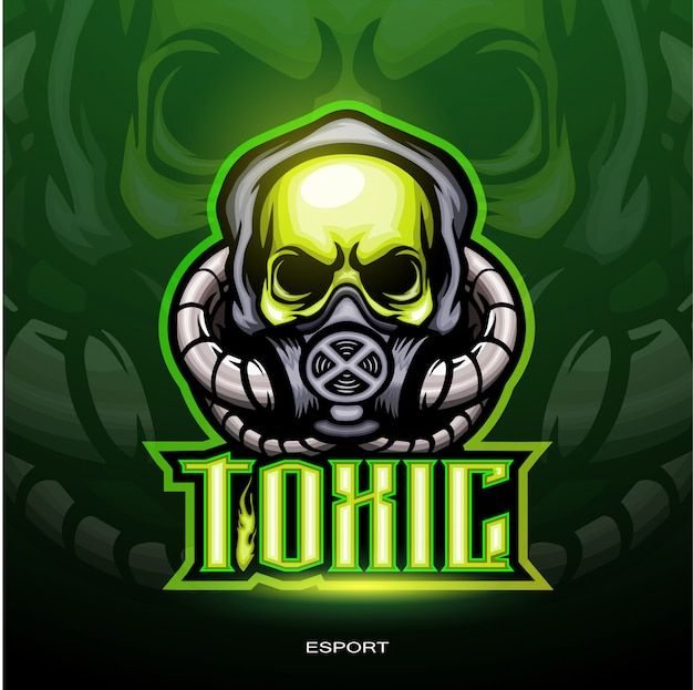 Toxic skull mascot for gaming logo.