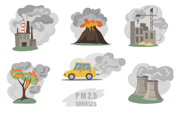 Toxic smokes set. fumes from factory pipes, volcano, car in city, outdoor fog from wild fires isolated on white.  flat illustration