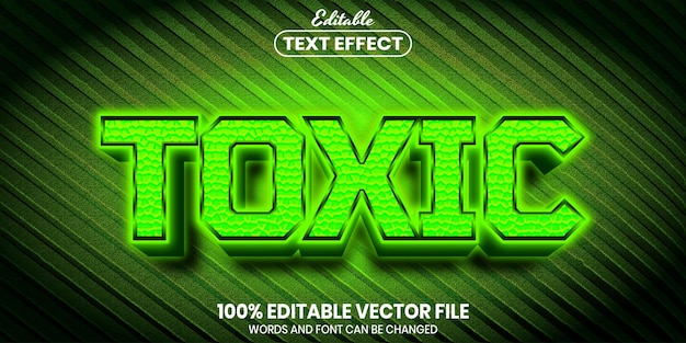 Toxic text, font style editable text effect