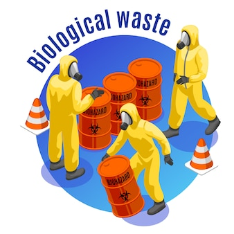 Toxic waste isometric round  composition with hazardous biological and infectious medical materials safe disposal