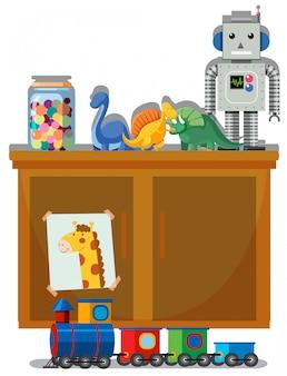 おもちゃと戸棚の白い背景