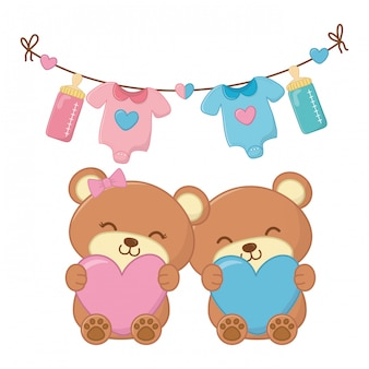 Toy bears holding hearts