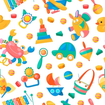 Toy collection for babies seamless pattern