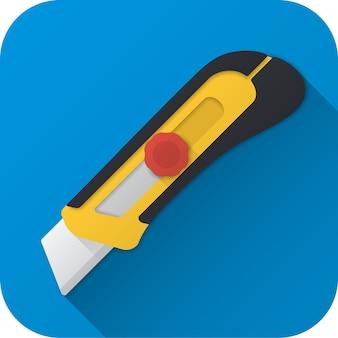 長い影とフラットデザインのおもちゃ建設ユーティリティナイフベクトルイラストアイコン