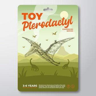 Toy dinosaur label template abstract vector packaging design layout modern typography with prehistor...