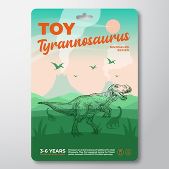 Toy dinosaur label template abstract vector packaging design layout modern typography