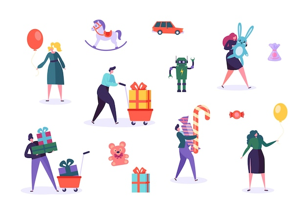 Toy gift box character set. people hold bear, robot for children christmas present. various festive surprise party entertainment candy ribbon packaging flat cartoon vector illustration
