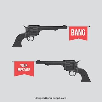 Toy gun shoots a flag