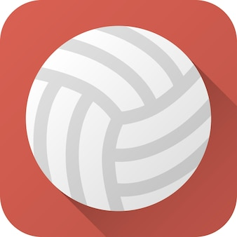 Toy leather volleyball ball in flat design with long shadow vector illustration icon