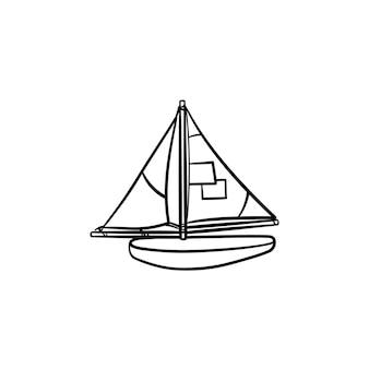 범선 손으로 그린 개요 낙서 아이콘의 장난감 모델. 흰색 배경에 고립 된 인쇄, 웹, 모바일 및 infographics에 대 한 기념품 바다 배 모델 벡터 스케치 그림.