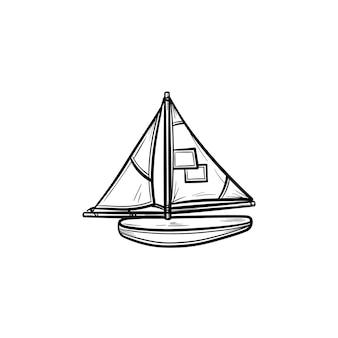 배 손으로 그린 개요 낙서 아이콘의 장난감 모델입니다. 흰색 배경에 격리된 인쇄, 웹, 모바일 및 인포그래픽을 위한 장난감 선박 및 선박 벡터 스케치 그림의 건설 및 모델링.