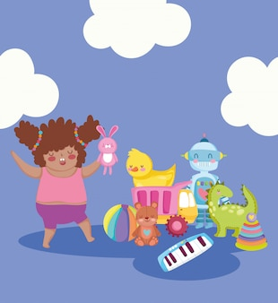 Toy object for small kids to play cartoon, cute girl with rabbit in hand and many toys illustration