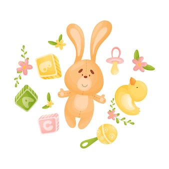 Toy orange hare surrounded by toys