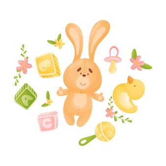 Игрушечный оранжевый заяц в окружении игрушек