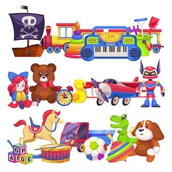 おもちゃの山。車、砂桶、子プラスチック動物クマと犬、人形の列車のイラストがかわいいカラフルな子供のおもちゃ山
