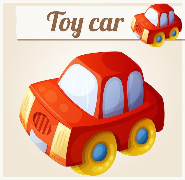おもちゃの赤い車。漫画イラスト。