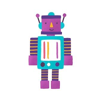 Игрушечный робот плоский векторные иллюстрации. детская игрушка. улыбающийся робот мультипликационный персонаж. трансформер, игрушка для мальчиков. красочный малыш-андроид. милый киборг для детей, изолированные на белом фоне. Premium векторы