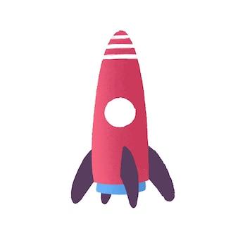 장난감 로켓 평면 벡터 일러스트 레이 션. 유치한 플라스틱 장난감. 미사일 만화 모델입니다. 시작, 새로운 시작. 우주 탐사, 로켓 발사. 로켓 우주선 장난감 흰색 배경에 고립입니다.