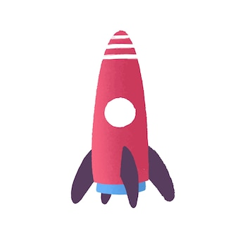 Toy rocket flat vector illustration. childish plastic plaything. missile cartoon model. startup, new beginnings. space exploration, rocket launch. rocketship toy isolated on white background.