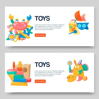 Toy shop for babies banners set