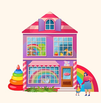 장난감 가게. 외부 시장 건물. . 아이와 어머니. 장난감 및 선물