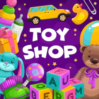 Toy shop goods. gifts for children, toddler and infant child educational and soft plush toys.