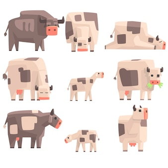 Toy simple geometric farm cows standing and laying while browsing