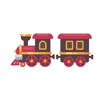 Toy train flat illustration. christmas present icon