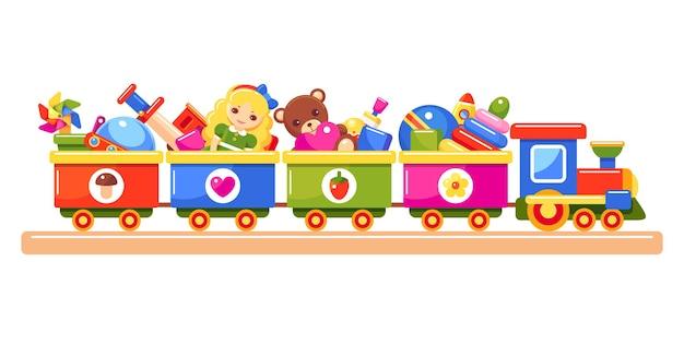 Игрушечный поезд, полный детских игрушек, красочные иллюстрации