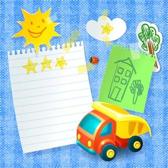 おもちゃのトラックと紙