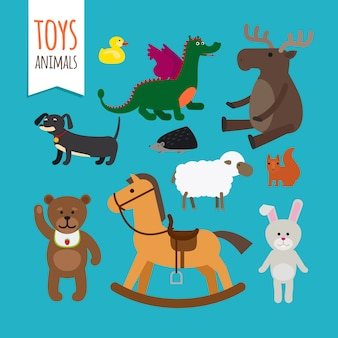 Toys animals vector