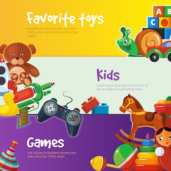 Toys banner templates flat design