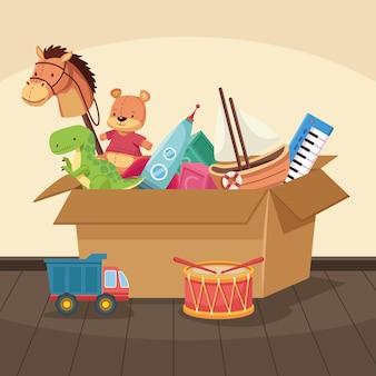 Toys in carton box