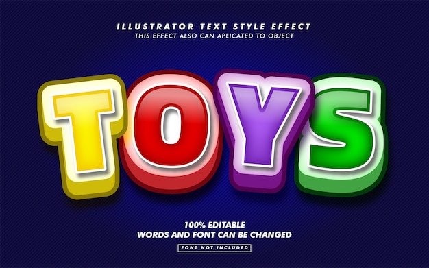 Toys cartoon text style effect mockup
