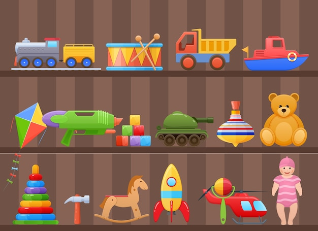 Toys for child on shelf of cabinet