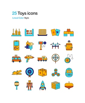 Toys color icons