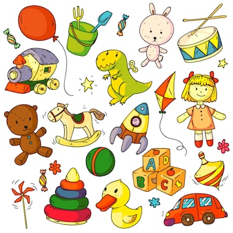 Toys doodles. funny children toys object sketches signs set. cute bunny, bear animal, balloon, duck, car, rocket, horse, ball, doll, abc cubes game doodles collection elements for babies
