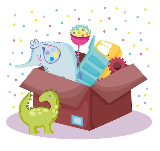 장난감 코끼리 공룡 딸랑이 상자