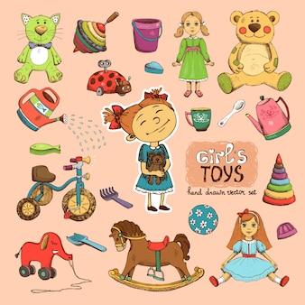 Игрушки для девочки иллюстрации: велосипед кукла лошадь ведро и лопата