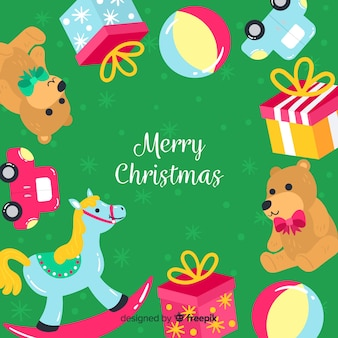 Toys frame christmas background