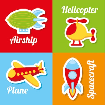 Toys icons over colorful background vector illustration