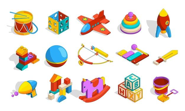 장난감 아이소메트릭. 어린이 플라스틱 유치원 장난감을 위한 색색의 유치원 물건은 상자 블록 드럼 자동차 벡터 귀여운 컬렉션을 설정합니다. 실로폰과 피라미드, 유치원 교육 장난 그림