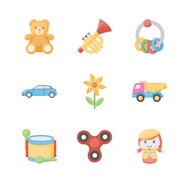 Toys for kids flat icons